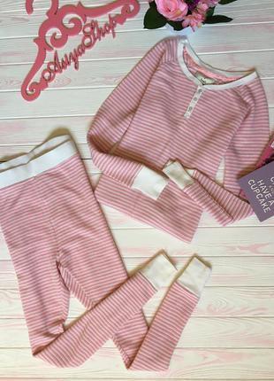 Пижама домашний костюм для сна отдыха розовый в полоску серебряная нить