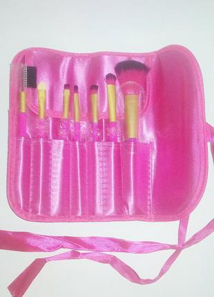 Акция ♥ кисти для макияжа набор 7 шт в футляре pink satin