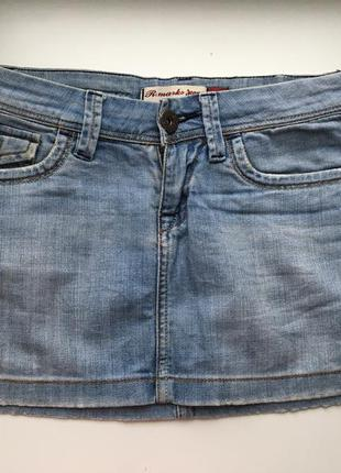 Юбка джинсовая, женская, мини, короткая, бедровка