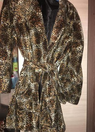 Леопардовое кашемировое, велюровое пальто