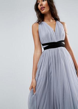 Asos роскошное серое многослойное шифоновое макси-платье
