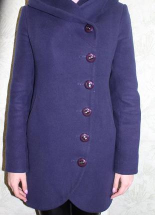 Синее демисезонное пальто с капюшоном, букле, бойфренд, прямой крой, косуха