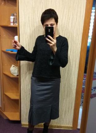 Серая миди юбка с клиньями h&m