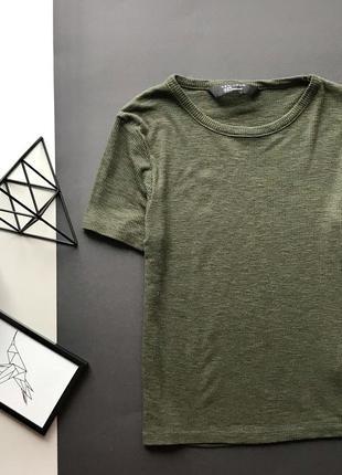Зелёная футболка в рубчик цвета хаки new look оливковая /милитари футболка