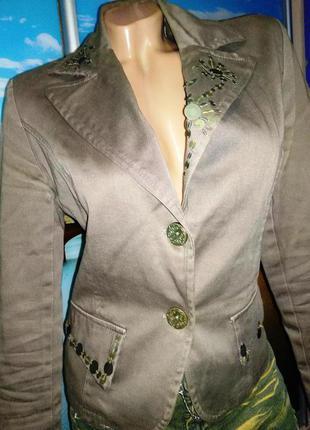 Пиджак хаки коричневый 10-12 р с-м
