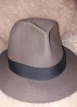 Оригинал borsalino серая фетровая шляпа федора от легендарного бренда  италия italy 56 см
