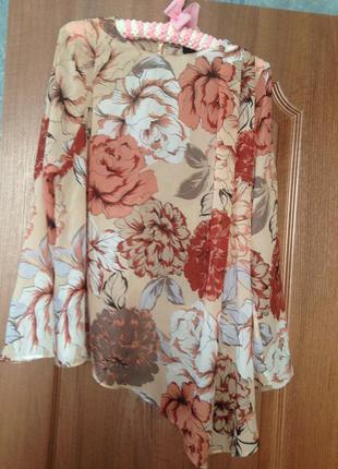 Персиковая блуза блузка с ассиметричным низом от marks&spencer р.10 m