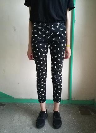 Стильные повседневные брюки с кошечками от mohito