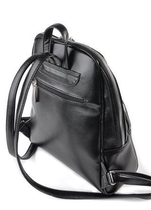 Черный женский городской рюкзак7 фото