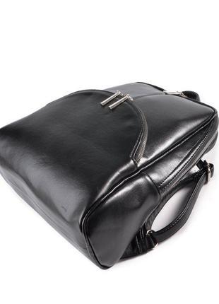 Черный женский городской рюкзак8 фото