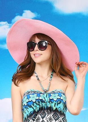 Летняя широкополая шляпа с лентой