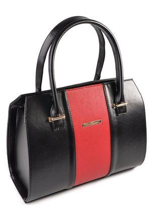 Женская деловая сумка саквояж черная глянцевая с красной полосой