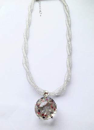 Серебряное колье-ожерелье с большим камнем , подвеска