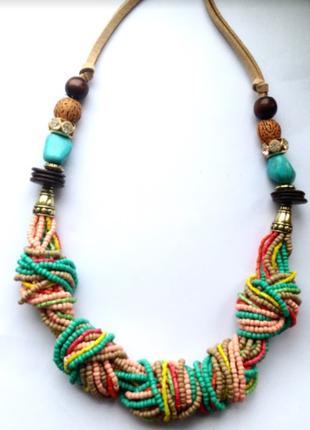 Многослойные массивные этнические бусы, ожерелье, колье в африканском стиле