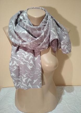 Шарф, палантин, шаль, шейный платок птицы 75 х 192