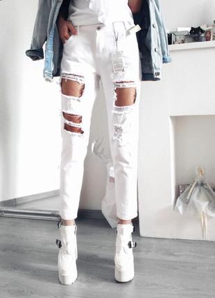 Новые белые джинсы бойфренду с дырками 550 грн!размер м/л!