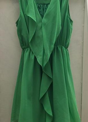 Зеленое шифоновое платье новое/ на размер xs, s, m