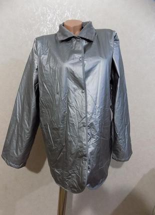 Серебристая непромокаемая куртка ветровка дождевик на стеганой подкладке размер 50-52
