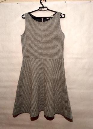 Платье серое рубчик миди loft
