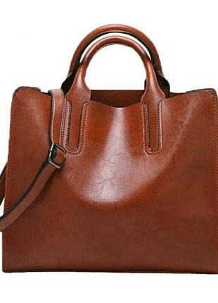 Шикарная кожаная рыжая сумка длинная и короткие ручки