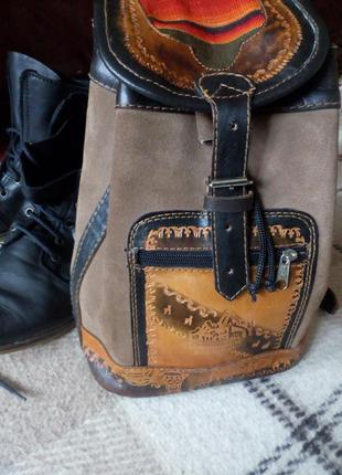 Стильный рюкзак из натуральной кожи кожи в этно стиле