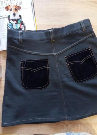 Мини юбка из шерсти с бархатными карманами