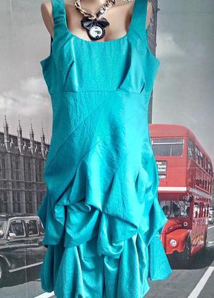 Красивенна шовкова коктейльна сукня бірюзово-зеленого кольору