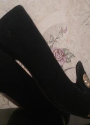 Винтажные  черно-фиолетовые туфли замшевые
