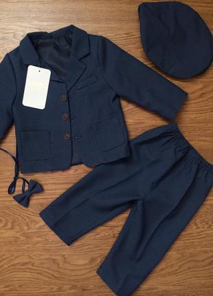Трикотажний синій костюм нарядний на вихід 80