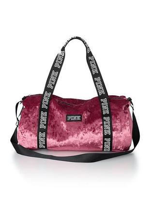 Бархатная спортивная сумка виктория сикрет pink