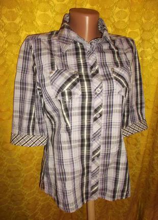 Стильная рубашка в клетку пуговицы металик street one 46-48 м
