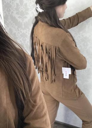 Замшевые куртка косуха с бахромой