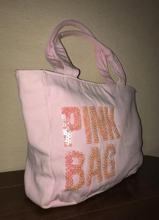 Вместительная сумка шоппер сумка для пляжа из плотной ткани цвета пудры