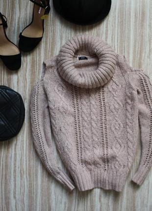 Актуальный свитер с косами и вырезами на плечах oversize №131 f&f