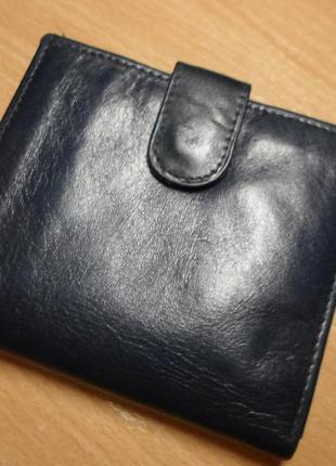 Синий кожаный кошелек debenham 9х10см