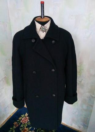 Темно синее полу-пальто,шерстяное,бойфренд,oversize,классическое,жакет,бушлат.