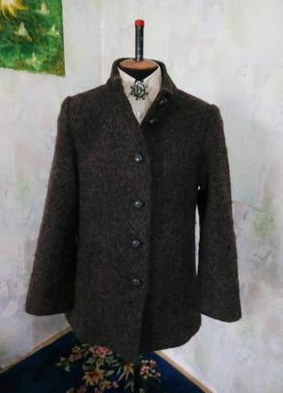 Коричневое полу-пальто букле,жакет,пиджак,тренч,oversize,бойфренд.