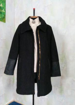 Черное пальто на молнии с кожаными вставками,букле,жакет,шерстяное,oversize.