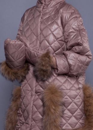 Пальто и варежки анна яковенко лиса натуральный мех