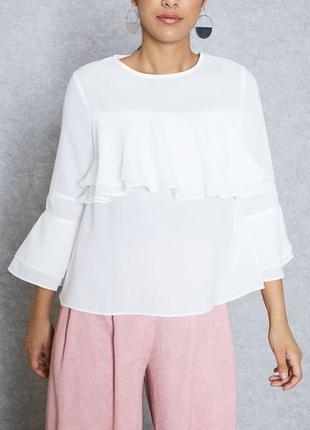 Блуза с воланами белая lost ink