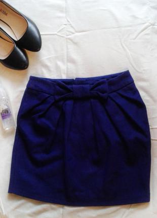 Теплая мини- юбка темно- фиолетового цвета