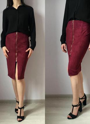 Красная, вишнёвая, бордовая юбка по фигуре карандаш, велюровая