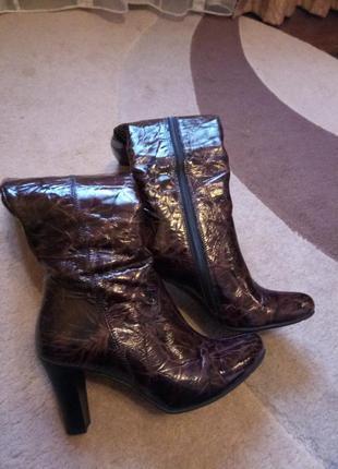 Кожаные сапоги женские 2019 - купить недорого вещи в интернет ... d1789a15d7441