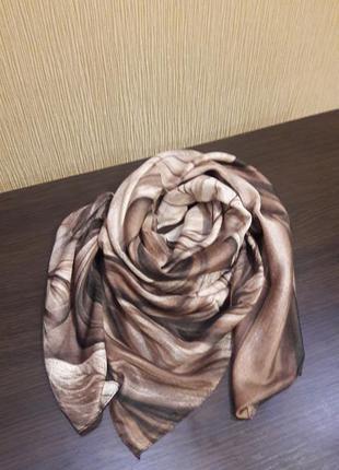 ☕шикарный бамбуковый платок турецкий качество отличное беж шоколад
