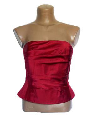 Шелковый стильный красный корсет