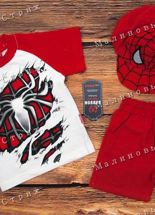 Костюм на мальчика на лето, 80 86 92 размер человек паук spiderman шорты футболка кепка