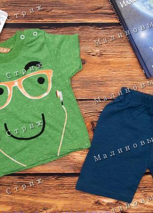 Стильный летний костюм на мальчика, 74 80 размер, футболка шорты, хлопок