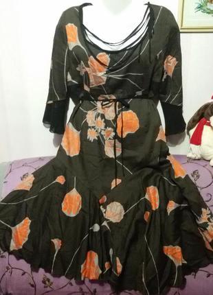 Тонкое котоновое платье  (пог - 54 см )