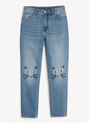 Олдскульные джинсы с нашивками котиками monki, размер 28