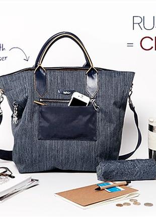 Вместительная сумка шоппер/кроссбоди из джинсовой ткани kipling, бельгия